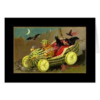 Tarjeta Coche de la sandía de la bruja de Halloween