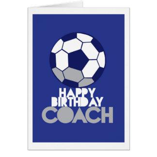 Tarjeta COCHE del feliz cumpleaños con el balón de fútbol