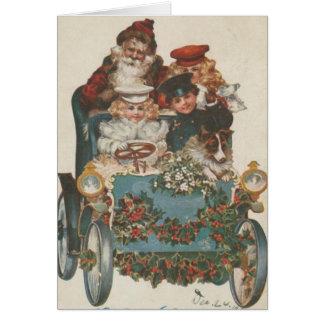 Tarjeta Coche del navidad del vintage