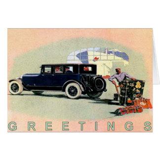 Tarjeta Coche Greetingcard del vintage con Lincoln viejo