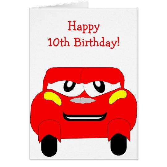 Tarjeta Coche rojo cumpleaños de 10 años