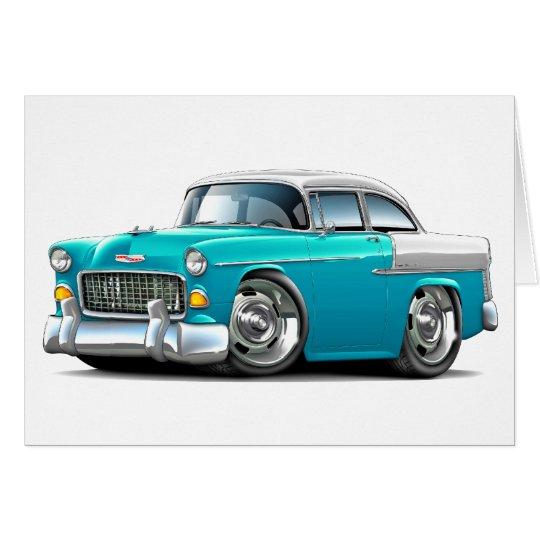 Tarjeta Coche Turquesa-Blanco 1955 de Chevy Belair