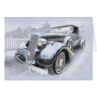 Tarjeta Coches viejos del vintage de los coches de los
