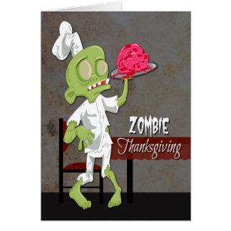 Tarjeta Cocinero del zombi con el cerebro preparado para