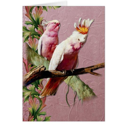 Tarjeta Cockatoos rosados de reclinación - personalizar