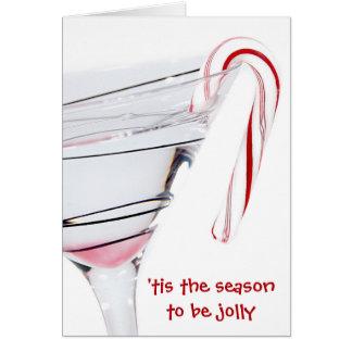 Tarjeta Cóctel del navidad con el bastón de caramelo en