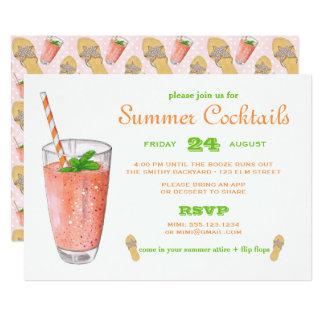 Tarjeta Cóctel del verano de la acuarela