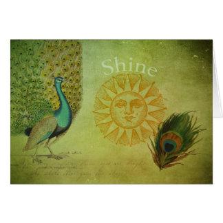 Tarjeta Collage del arte del pavo real del vintage