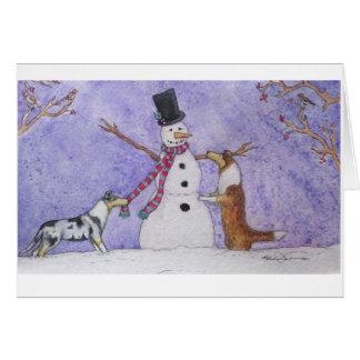 Tarjeta Collies del muñeco de nieve