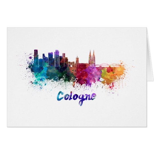 Tarjeta Cologne skyline in watercolor