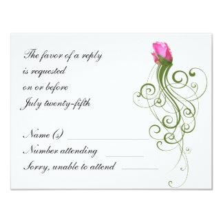 Tarjeta color de rosa rosada de RSVP del Flourish Invitación 10,8 X 13,9 Cm