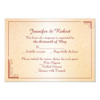 Tarjeta color de rosa y de la mariposa anaranjada invitación 8,9 x 12,7 cm