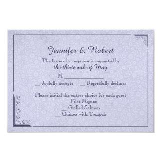 Tarjeta color de rosa y de la mariposa azul del invitación 8,9 x 12,7 cm