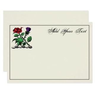 Tarjeta color de rosa y del cardo heráldica del invitación 12,7 x 17,8 cm