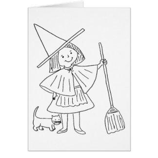 Tarjeta � colorear para Halloween -