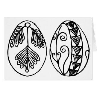 Tarjeta Coloree sus propios huevos de Pascua dibujados