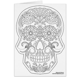 Tarjeta Coloréeme día del arte muerto del zen del cráneo