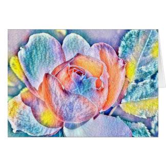 Tarjeta Colores del arco iris de la flor de la acuarela