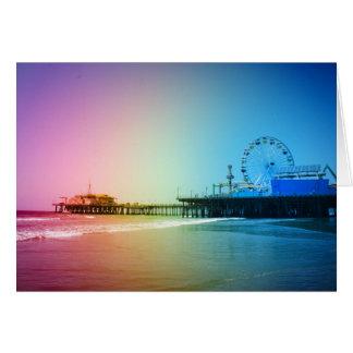 Tarjeta Colores del arco iris del embarcadero de Santa
