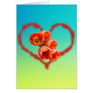 Tarjeta Colores del arco iris para los tulipanes y el
