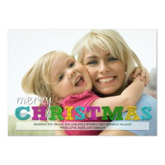 Tarjeta colorida de la foto del navidad de las invitación 12,7 x 17,8 cm