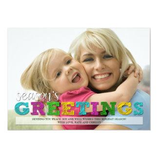 Tarjeta colorida de la foto del navidad de los invitación 12,7 x 17,8 cm