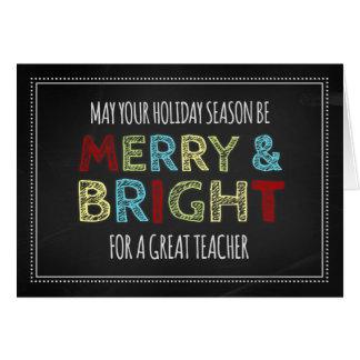 Tarjeta colorida de las Felices Navidad del profes
