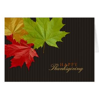 Tarjeta colorida de las hojas de arce de la acción