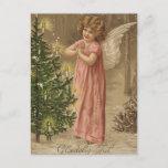 Tarjeta colorida del ángel del navidad del rosa