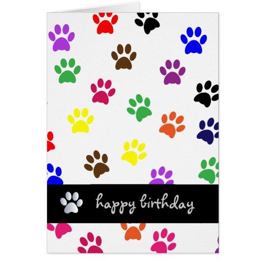 Tarjeta colorida del feliz cumpleaños del mascota