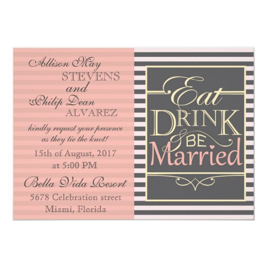 Tarjeta Coma, bebida y sea diseño casado