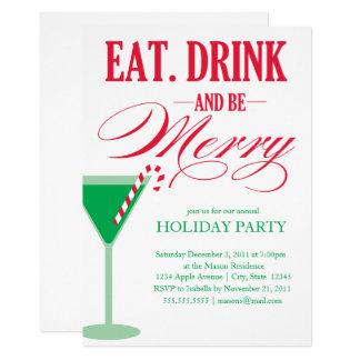 Tarjeta Coma, bebida y sea feliz celebración de días