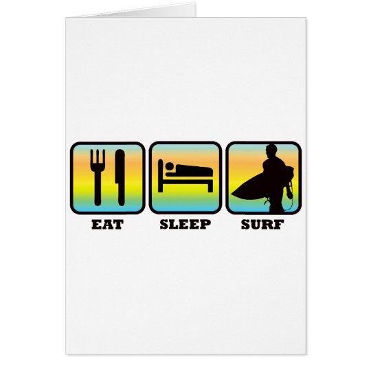 Tarjeta Coma, duerma, practique surf