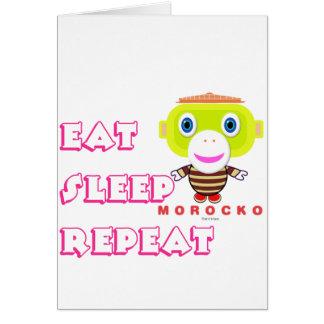 Tarjeta Coma el Mono-Morocko Repetición-Lindo del sueño