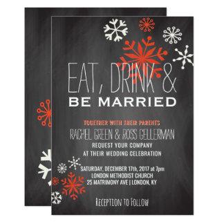 Tarjeta Coma la bebida sea boda casado del invierno de la