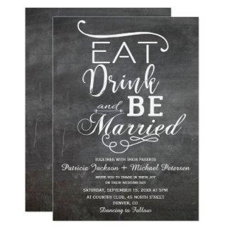 Tarjeta Coma la bebida y sea boda rústico casado de la