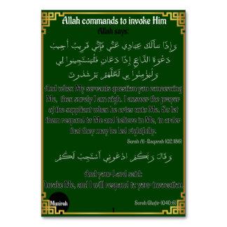 Tarjeta Comandos de Alá de invocarlo