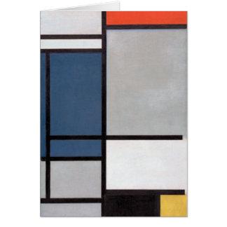 Tarjeta Composición de Mondrian con rojo, azul, negro,