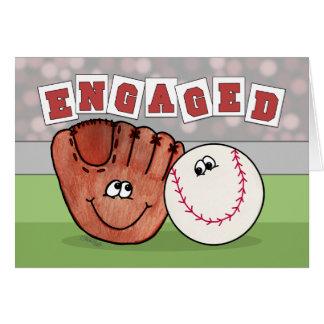 Tarjeta COMPROMISO Annoucement del mitón y del béisbol del