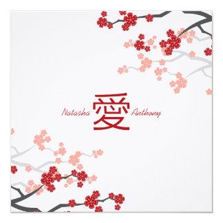 Tarjeta Compromiso chino del amor de Sakura de las flores