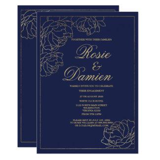 Tarjeta Compromiso floral oro elegante simple de los