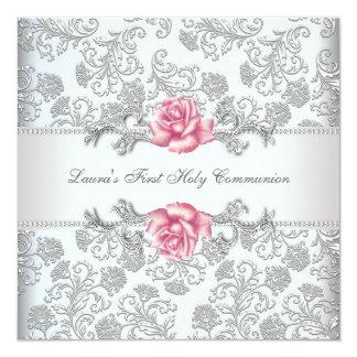 Tarjeta Comunión de los chicas color de rosa rosados del
