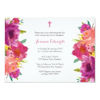 Tarjeta Comunión floral de la acuarela primera
