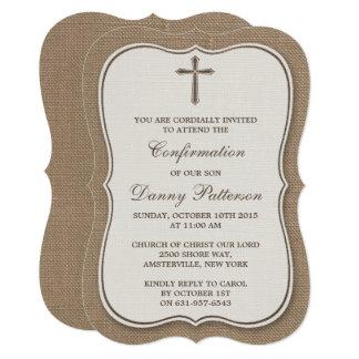 Tarjeta Comunión santa o confirmación de la cruz rústica