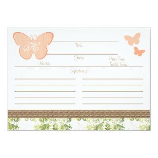 Tarjeta con monograma de la receta de la mariposa invitación 11,4 x 15,8 cm