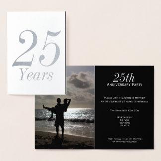 Tarjeta Con Relieve Metalizado 25to Fiesta de aniversario de la bodas de plata