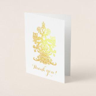 Tarjeta Con Relieve Metalizado Agradezca los búhos reales de oro de yu