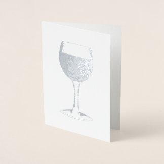 Tarjeta Con Relieve Metalizado Amante del vino de consumición de cristal de la