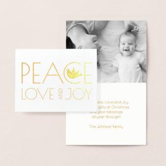 Tarjeta Con Relieve Metalizado Amor de la paz y oro de la foto del navidad de la
