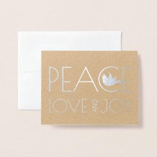 Tarjeta Con Relieve Metalizado Amor de la paz y plata de la foto del navidad de